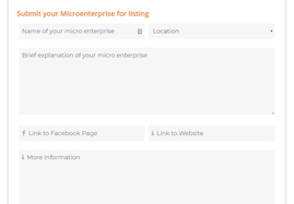 Image description: Form to submit a microenterprise to be listed