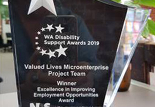 Image description: Trophy from the WA Disability Support Awards won by the Microenterprise project